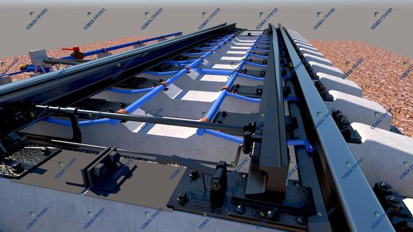 Установка системы пневмообдува стрелочных переводов внутри рельсовой колеи