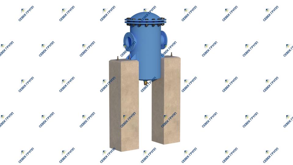 Установленный проходной водоотделитель