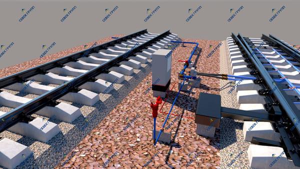 Установка ЭПК стрелки с угловым подводом трубопровода ТО-167-48-00
